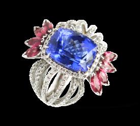 Кольцо из белого золота с бриллиантами, турмалинами и танзанитом