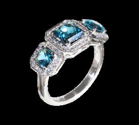 Кольцо из белого золота с бриллиантами и топазами