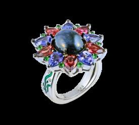 Кольцо из белого золота с бриллиантами, турмалинами, цаворитами, цитринами и сапфиром