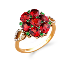Эксклюзивное золотое кольцо с бриллиантами, тсаворитами и сапфирами