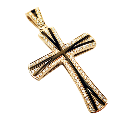 Крест из золота с бриллиантами, артикул 63384 - Baskrin