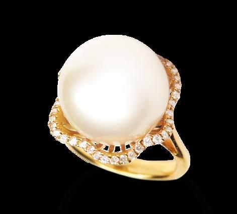 Кольцо из золота с бриллиантами и жемчугом, артикул 33235 - Baskrin