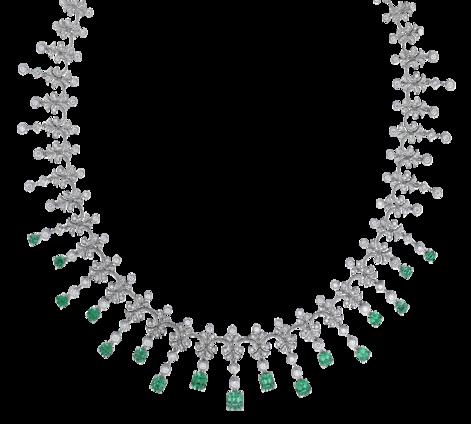 Колье из белого золота с бриллиантами и изумрудами, артикул 83484, фото 2 - Baskrin