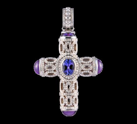 Крест из белого золота с бриллиантами, танзанитом, турмалином и аметистом, артикул 63422 - Baskrin