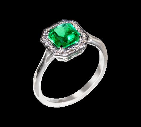 Кольцо из белого золота с бриллиантами и изумрудом, артикул 33408 - Baskrin