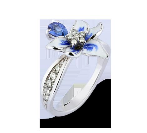 Эксклюзивное золотое кольцо с бриллиантами, сапфирами и эмалью, артикул 33629 - Baskrin