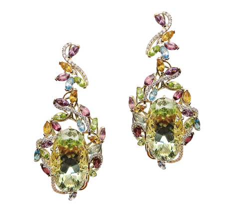 Серьги из золота с бриллиантами, аметистами, перидотами, родонитами, топазами и цитринами, артикул 41165 - Baskrin