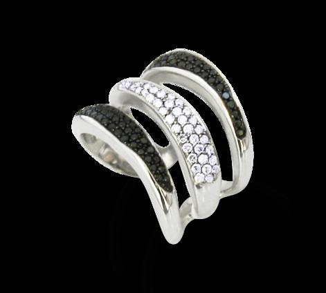 Кольцо из белого золота с белыми и черными бриллиантами , артикул 30500 - Baskrin