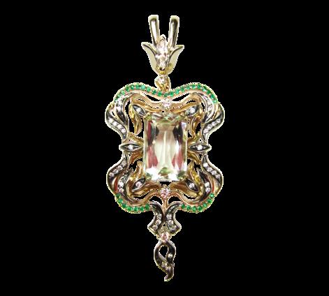 Подвеска из золота с бриллиантами, изумрудами и аквамарином, артикул 63179 - Baskrin