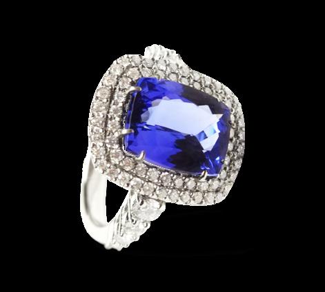 Кольцо из белого золота с бриллиантами и танзанитом, артикул 33228 - Baskrin