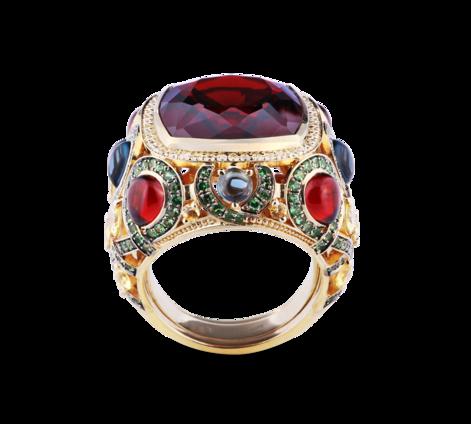 Кольцо из желтого золота с драгоценными камнями, артикул 33415-2 - Baskrin