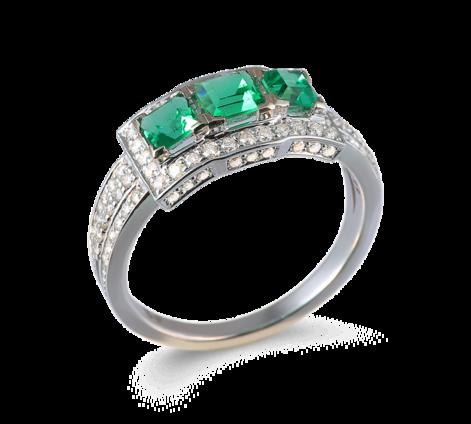 Кольцо из белого золота с бриллиантами и изумрудами, артикул 33547 - Baskrin