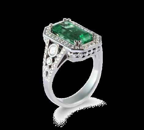 Кольцо из белого золота с бриллиантами и изумрудом, артикул 33550 - Baskrin