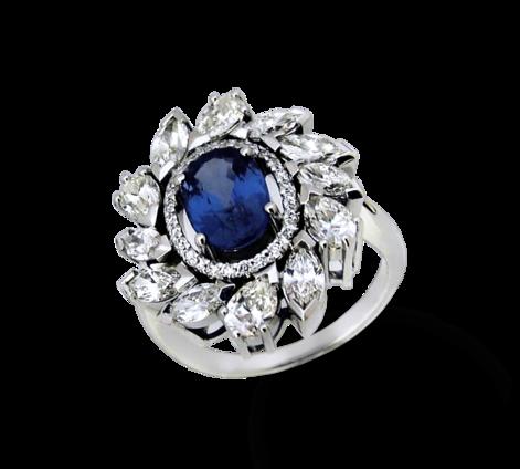 Кольцо из белого золота с бриллиантами и сапфиром, артикул 31102 - Baskrin