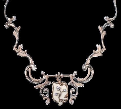 Колье из белого золота с бриллиантами и перламутром, артикул 81460 - Baskrin