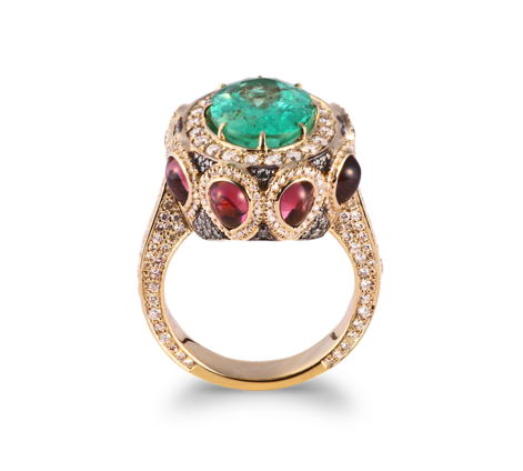 Кольцо из желтого золота с бриллиантами, турмалинами и изумрудами, артикул 33448 - Baskrin