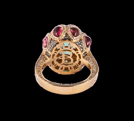 Кольцо из желтого золота с бриллиантами, турмалинами и изумрудами, артикул 33448, фото 2 - Baskrin