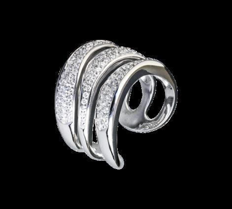 Кольцо из белого золота с бриллиантами, артикул 30500a - Baskrin