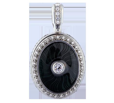 Эксклюзивный медальон из серебра с кристаллами Swarovski и эмалью, артикул 63540 - Baskrin