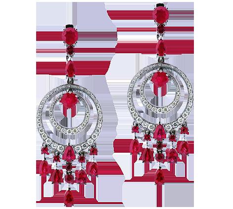 Эксклюзивные серьги из белого золота с бриллиантами и рубинами, артикул 43559a - Baskrin