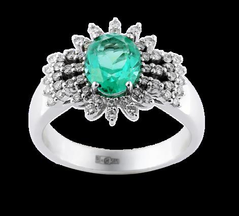 Эксклюзивное кольцо из белого золота с бриллиантами и изумрудом, артикул 33666 - Baskrin