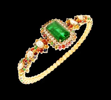 Оригинальный женский браслет из золота с драгоценными камнями, артикул 73293 - Baskrin