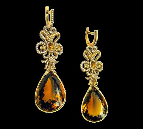 Серьги из золота с бриллиантами и цитринами, артикул 41134 - Baskrin