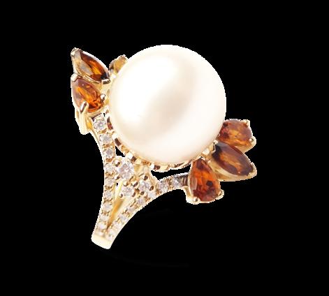 Кольцо из золота с бриллиантами и турмалинами и жемчугом, артикул 33165 - Baskrin