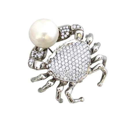 Брошь из белого золота с бриллиантами и жемчугом, артикул krab - Baskrin