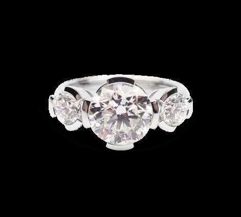 Кольцо из белого золота с бриллиантами, артикул 31016 - Baskrin