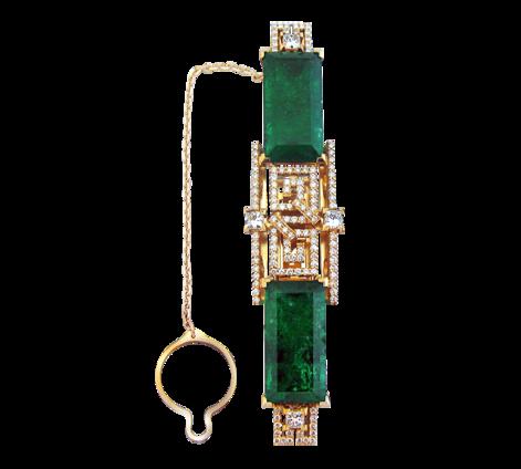 Золотой зажим для галстука с бриллиантами и изумрудами, артикул 91073 - Baskrin