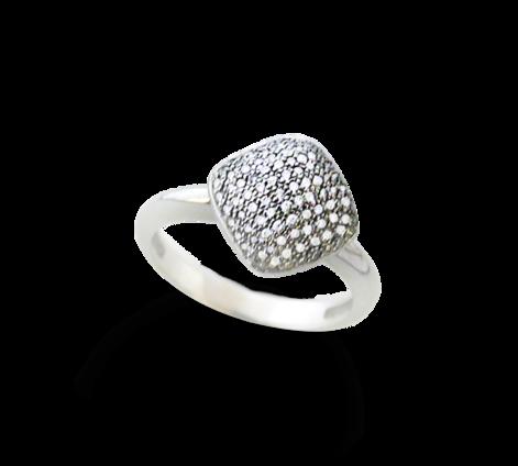 Кольцо из белого золота с бриллиантами, артикул 33030 - Baskrin