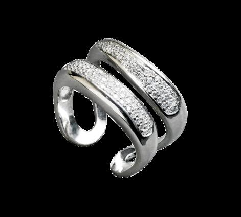 Кольцо из белого золота с бриллиантами, артикул 30499 - Baskrin