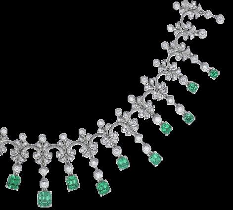 Колье из белого золота с бриллиантами и изумрудами, артикул 83484 - Baskrin