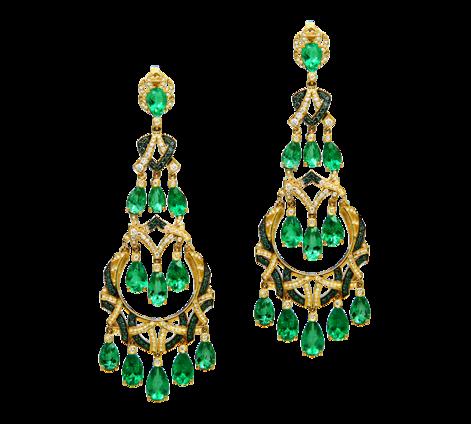Серьги из золота с изумрудами и бриллиантами, артикул 43287 - Baskrin