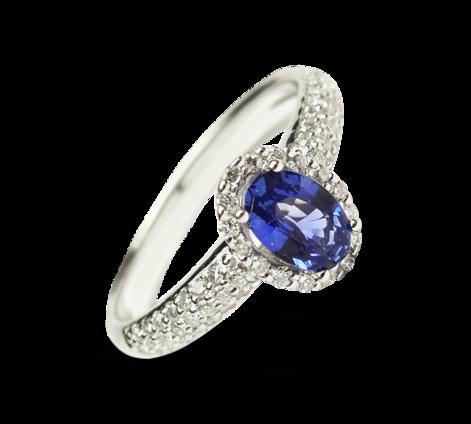 Кольцо из белого золота с бриллиантами и сапфиром, артикул 33062a - Baskrin