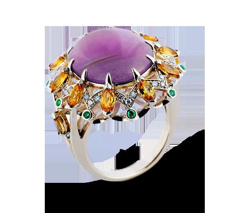 Эксклюзивное золотое кольцо с бриллиантами, аметистом, сапфирами, тсаворитами, артикул 33518a - Baskrin