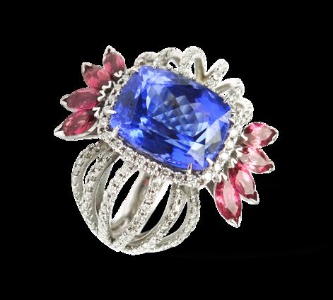 Кольцо из белого золота с бриллиантами, турмалинами и танзанитом, артикул 33224 - Baskrin