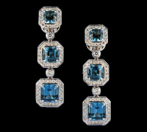 Серьги из белого золота с бриллиантами и топазами, артикул 43432 - Baskrin