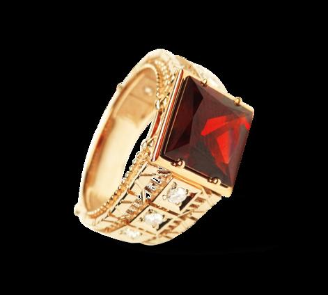 Эксклюзивное большое кольцо из золота с бриллиантами и гранатом, артикул 33209 - Baskrin