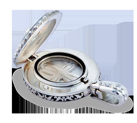 Эксклюзивный медальон из серебра с кристаллами Swarovski и эмалью, артикул 63540, фото 2 - Baskrin