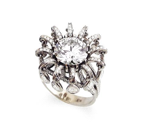 Кольцо из белого золота с бриллиантами, артикул 31138 - Baskrin
