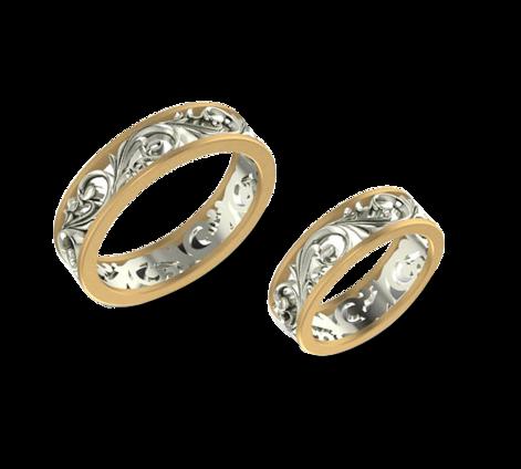 Обручальные кольца из желтого и белого золота, артикул 33252 - Baskrin