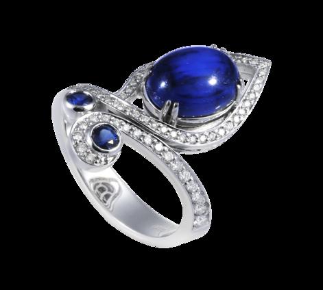 Кольцо из белого золота с бриллиантами и сапфирами, артикул 33435 - Baskrin