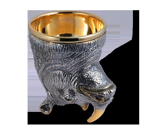 Рюмка-Перевертыш из серебра с чернением и золочением, артикул Рюмка-Перевертыш , фото 2 - Baskrin