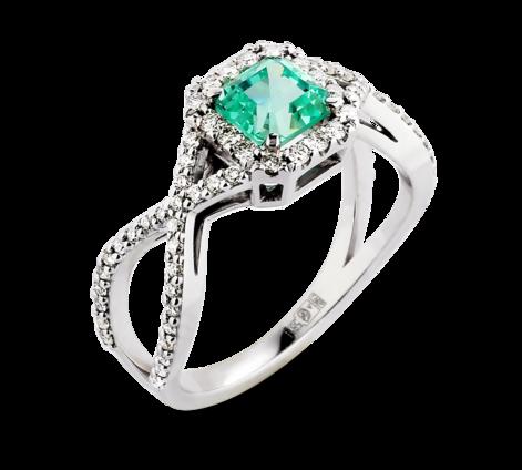 Эксклюзивное кольцо из белого золота с бриллиантами и изумрудом, артикул 33658 - Baskrin