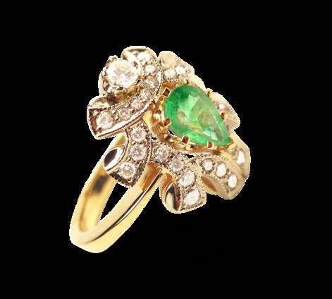Кольцо из золота с бриллиантами и изумрудом, артикул 30449_ - Baskrin