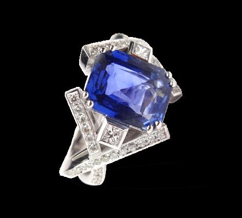 Кольцо из белого золота с бриллиантами и сапфиром, артикул 33055 - Baskrin