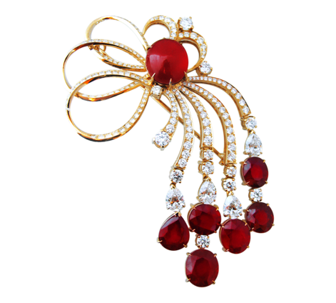 Брошь из золота с бриллиантами и рубинами, артикул 91459 - Baskrin
