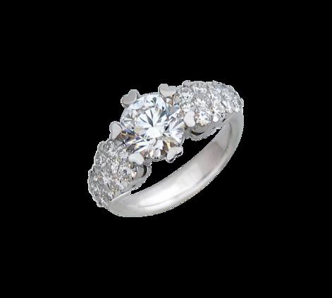 Кольцо из белого золота с бриллиантами, артикул 31813 - Baskrin